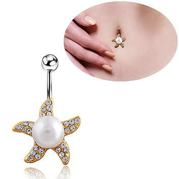 316l Starfish Pearl Belly Button Rings Navel Body Piercing Surgical Steel Piercing Fashion Woman Vners Jewelry ...
