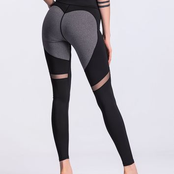 Sheer Mesh Panel Colorblock Legging
