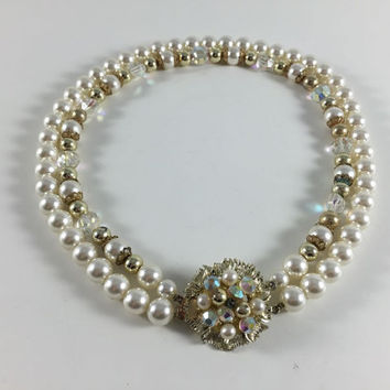 Vintage Retro Costume Jewelry Gold Toned Faux Pearl Rhinestone Bead Necklace