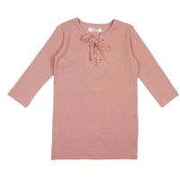 Coco Blanc Big Girls' Blush Pink Ribbed Criss Cross Tee