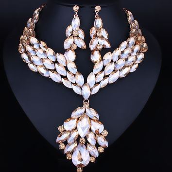 African Statement Feather Shape Crystal Rhinestone Necklace Earring Set Luxury Wedding Prom Jewelry sets