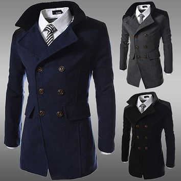 fashion brand winter long trench coat men good quality double breasted wool blend overcoat for men size 3xl