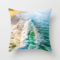 Ocean Throw Pillow Cover, Beach Photography, Ocean Photography, Wave, California, Turquoise, Teal, Chair, Couch, Living Room, Home Decor