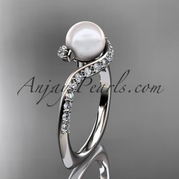Platinum diamond pearl engagement ring AP277
