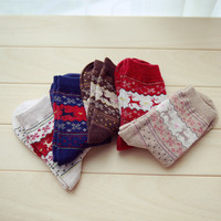 5 Pairs Fashion Women Christmas ELK Socks