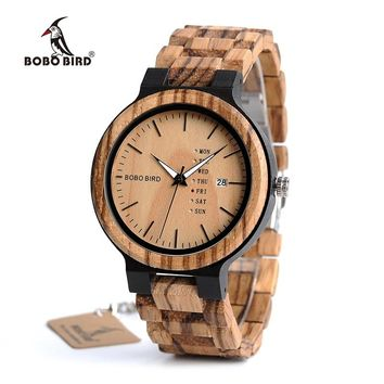 BOBO BIRD 2017 Newest Handmade Wooden Calendar Watches For Men With Wooden Strap And Japan Miyota 2035 Movement Quartz Wristwatc