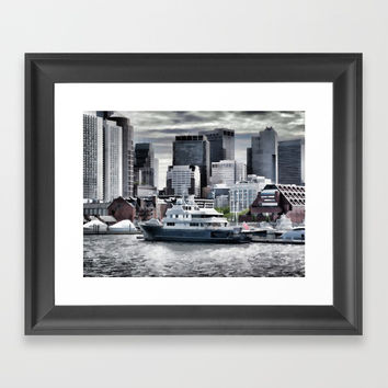 Yachts in Charles River Framed Art Print by lanjee