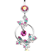 Glistening Butterfly Garden Belly Button Ring
