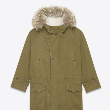 Saint Laurent Hooded Parka In Khaki Cotton And Linen Gabardine, Ivory Shearling And Coyote Fur | YSL.com