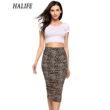 *Online Exclusive* Ruched Leopard Print Pencil Skirt