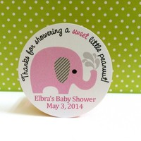 Thanks for Showering a Sweet Little Peanut Pink Elephant Stickers