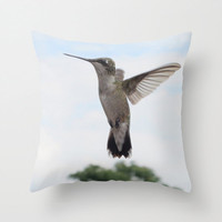 Hummingbird Pillow, Photo Pillow Case, Canvas throw pillow, Hummingbird decor, Bird lover gift, Bird pillow cover, 16X16 pillow cover, 18X18