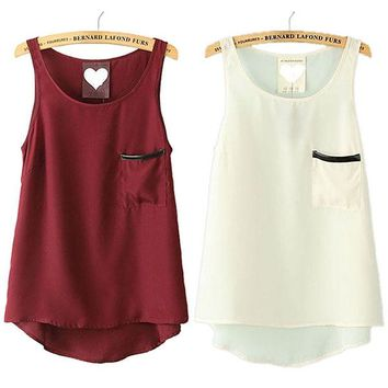 Summer Women Lady Sheer Chiffon Pocket T-shirt Sleeveless Vest