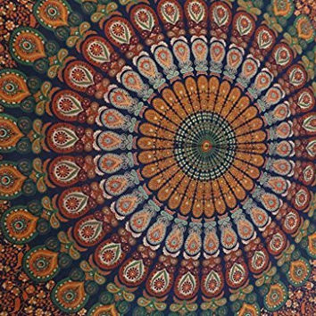 Queen Size Indian Tapestry Bedding, Hippie Mandala Wall Hanging, Bohemian Tapestry Room Decor, Hippie Mandala Beach Throw, Picnic Blanket