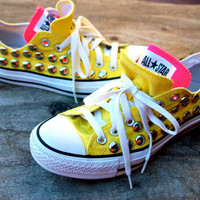 Studded Converse - Yellow/Pink - Vintage