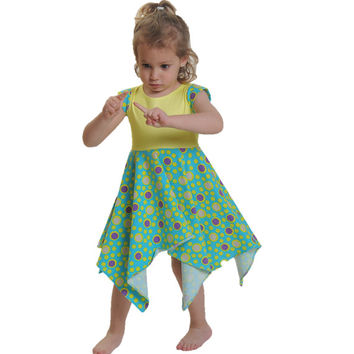 Yellow & green special design twirly dress for beautiful girls