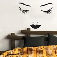 Makeup Wall Decal Vinyl Sticker Decals Home Decor Mural Make Up Girl Eyes Woman Fashion Cosmetic Hairdressing Hair Beauty Salon Decor C372
