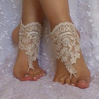 Light beige Wedding barefoot bridal sandals lace toe shoes beaded pearl and rhinestone free ship