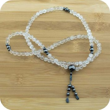 Ice Quartz Crystal Buddhist Mala Beads with Hematite