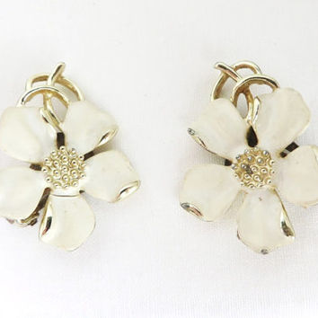 Vintage Emmons Earrings - White Enamel Dogwood Flower Clip-ons, Gift For Her, Christmas Gift