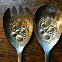 Pair of Vintage Silver Plated Salad Servers with Ornate Fruit Design - Marked EPNS England