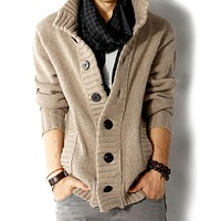 Mens High Collar Cardigan in Khaki