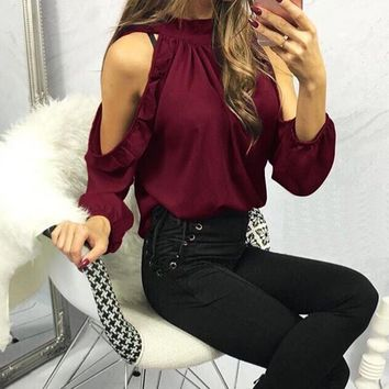 Utica Cold Shoulder Long Sleeve Ruffle Top