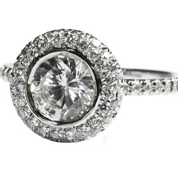 Halo Diamond Ring, 0.90 ct. Surrounded with 56 Diamonds in 18K White Gold