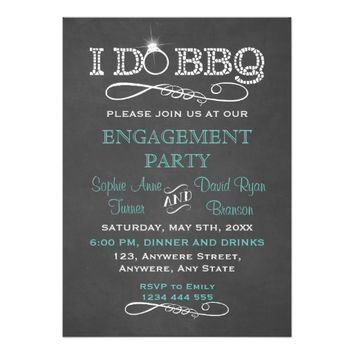 Rustic Chalkboard I DO BBQ Engagement Party Invite