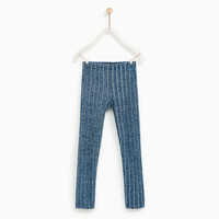 RIBBED LEGGINGS Blue marl - 9 years (55,1 INCHES)