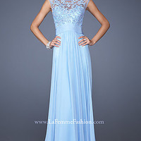 High Neck Long Blue Prom Gown by La Femme