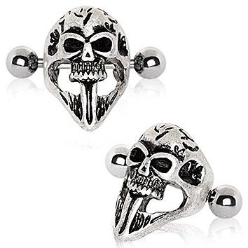 316L Stainless Steel Gothic Skull Mask WildKlass Cartilage Ear Cuff Earring
