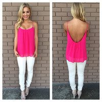 Fuchsia Low Back Chiffon Tank