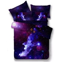 3D Galaxy Stars Bedding Set Purple Blue Moon Space Duvet Cover Set 3/4pcs Queen King Size Bed Sheets Home Textile