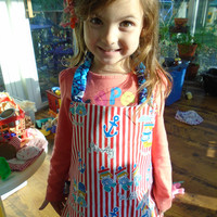 Child's Reversible Apron, Red and Blue Sailor print Montessori-style apron
