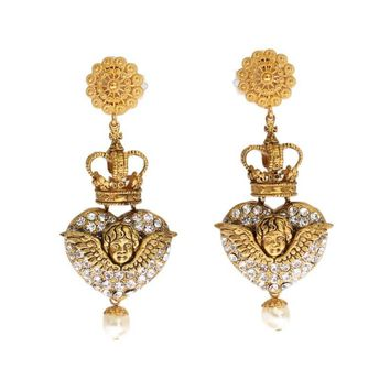 Dolce & Gabbana Gold Crystal Heart Crown Dangling Clip On Earring