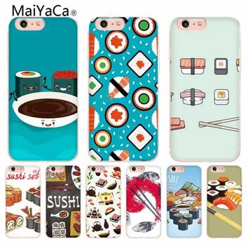 MaiYaCa Sushi Japan Yummy Food Novelty Fundas Transparent Phone Case Cover For iPhone X 6 6s 7 7plus 8 8Plus 5 5S 5C