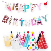 Happy Birthday Banner and Party Hats Kids Girl Boy Birthday Party Decoration