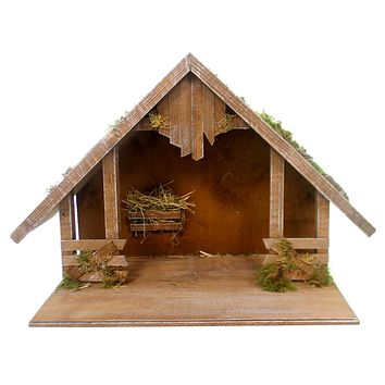 Marolin WOODEN STABLE w/ GABLE ROOF Wood Nativity Germany Christmas 809060