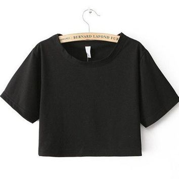 Sexy Loose Cropped Top Casual Plain T Shirt