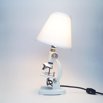 ANTIQUE MICROSCOPE LAMP - Vintage White Metal Milben Repurposed Microscope Table Light With Shade, Industrial Lighting