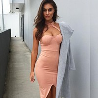 2018 New Summer Neckhead Open Fork Bag Breech Dress, Sexy Nightclub Pencil Skirt