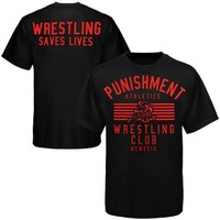 Punishment Athletics Wrestling Saves Lives T-Shirt - Black/Neon Red