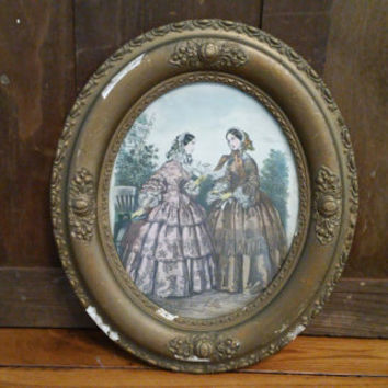 Vintage Oval Ornate Gold Gesso Wood Frame with Victorian Ladies Print