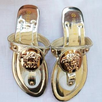 VERSACE Summer Fashion Women Casual Sandal Slippers Shoes Golden