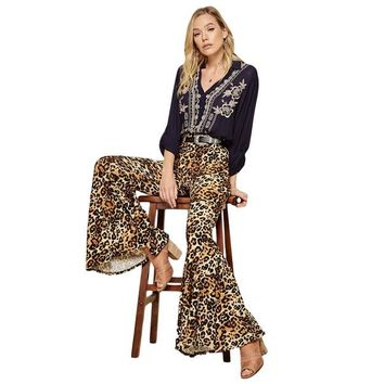 On The Prowl Bell Bottom Pants in Leopard