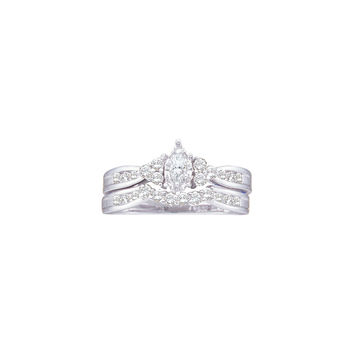 14k White Gold Marquise Diamond .08  Carat Solitaire Womens Wedding Bridal Ring Set 1/2 Cttw