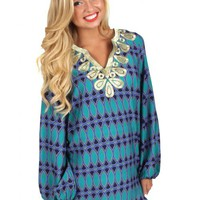 Hey There Delilah Green And Navy Tunic | Monday Dress Boutique