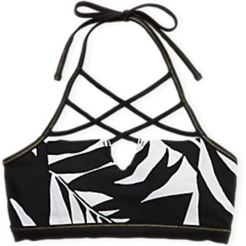Aerie Hi Neck Crop Bikini Top , Black