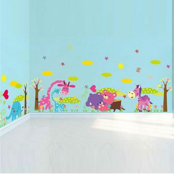 elephant giraffe owl bear flower tree animal wall stickers for kids room decor zoo decals children cartoon wall art cd005 5.0